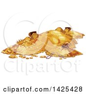 Clipart Of A Pile Of Gold Coins And Treasure Royalty Free Vector Illustration