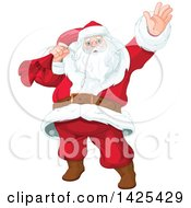 Clipart Of A Jolly Santa Clause Slinging A Sack Over His Shoulder And Waving Royalty Free Vector Illustration by Pushkin