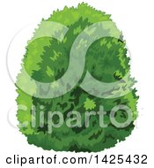 Clipart Of A Lush Green Bush Royalty Free Vector Illustration
