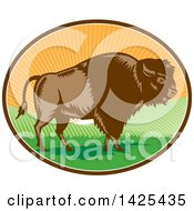 Clipart Of A Retro Woodcut American Buffalo Bison In An Oval With Hills And Sun Rays Royalty Free Vector Illustration