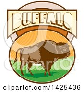 Retro Woodcut American Bison In An Oval With Hills And Sun Rays Under Buffalo Text