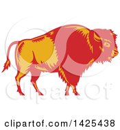 Retro Woodcut Red And Yellow American Buffalo Bison