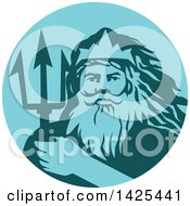 Poster, Art Print Of Retro Man Triton Mythological God Holding A Trident In A Blue And Teal Circle