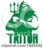 Poster, Art Print Of Retro Man Triton Mythological God Holding A Trident In Green And White Over Text