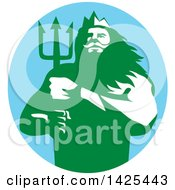 Clipart Of A Retro Man Triton Mythological God Holding A Trident In A Blue Green And White Circle Royalty Free Vector Illustration