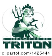 Retro Green Toned Man Triton Mythological God Holding A Trident In Folded Arms Over Text