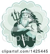 Retro Man Triton Mythological God Holding A Trident In Folded Arms Inside A Rosette