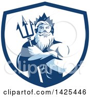 Retro Man Triton Mythological God Holding A Trident In Folded Arms Inside A White And Blue Shield