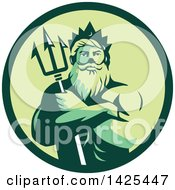 Retro Man Triton Mythological God Holding A Trident In Folded Arms Inside A Green Circle