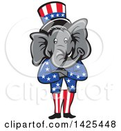 Cartoon Republican Elephant Wearing A Top Hat Standing With Folded Arms
