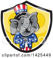 Cartoon Republican Elephant Wearing A Top Hat With Folded Arms In A Black White And Yellow Shield