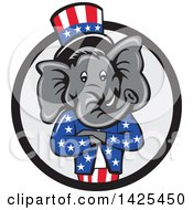 Clipart Of A Cartoon Republican Elephant Wearing A Top Hat With Folded Arms In A Black And Gray Circle Royalty Free Vector Illustration