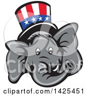 Clipart Of A Cartoon Republican Elephant Face Wearing A Top Hat Royalty Free Vector Illustration by patrimonio