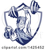 Clipart Of A Retro Male Champion Norse Warrior Berserker Wearing A Pelt Of Bear Skin Lifting A Barbell And Kettlebell Emerging From A Shield Royalty Free Vector Illustration