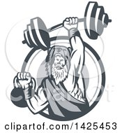 Clipart Of A Retro Male Champion Norse Warrior Berserker Wearing A Pelt Of Bear Skin Lifting A Barbell And Kettlebell Emerging From A Circle Royalty Free Vector Illustration
