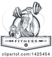 Clipart Of A Retro Male Champion Norse Warrior Berserker Wearing A Pelt Of Bear Skin Lifting A Barbell And Kettlebell Emerging From A Circle Over Fitness Next Royalty Free Vector Illustration by patrimonio