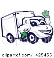 Clipart Of A Cartoon Happy Delivery Van Mascot Waving Royalty Free Vector Illustration