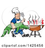 Clipart Of A Retro Cartoon Male Chef Carrying An Alligator And Spatula To A Football Grill Royalty Free Vector Illustration by patrimonio