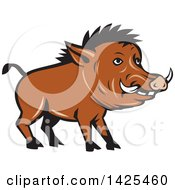 Clipart Of A Cartoon Razorback Boar Pig Royalty Free Vector Illustration
