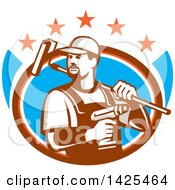 Clipart Of A Retro Handyman Holding A Paint Roller Over His Shoulder And A Cordless Drill In Hand Emerging From An Oval With Stars Royalty Free Vector Illustration