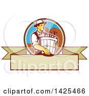 Retro Male Organic Farmer Carrying A Bushel Of Harvest Produce In A Circle Against A Barn And Silo Over A Blank Ribbon Banner