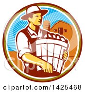 Retro Male Organic Farmer Carrying A Bushel Of Harvest Produce In A Circle Against A Barn And Silo
