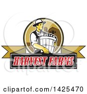 Retro Male Organic Farmer Carrying A Bushel Of Produce In A Circle Against A Barn And Silo Over A Harvest Farms Ribbon Banner
