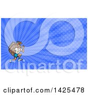 Clipart Of A Turkey Trot Runner With A Medal And Thumb Up And Blue Rays Background Or Business Card Design Royalty Free Illustration