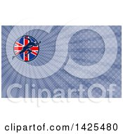 Retro Sprinter Running Over A British Union Jack Flag Circle And Blue Rays Background Or Business Card Design