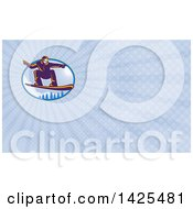 Clipart Of A Retro Snowboarder Catching Air Over Alpine Trees And Sunshine And Rays Background Or Business Card Design Royalty Free Illustration