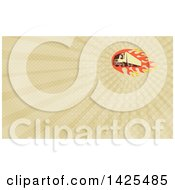 Clipart Of A Retro Big Rig Truck And Flames And Rays Background Or Business Card Design Royalty Free Illustration