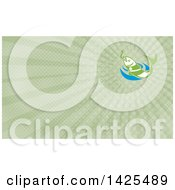 Clipart Of A Green Fish Leaping For A Hook Over Blue Water And Green Rays Background Or Business Card Design Royalty Free Illustration