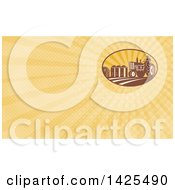 Retro Farmer Operating A Tractor Near A Barn And Silos And Orange Rays Background Or Business Card Design