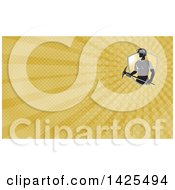 Coal Miner And Yellow Rays Background Or Business Card Design