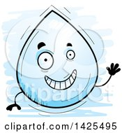 Clipart Of A Cartoon Doodled Waving Water Drop Character Royalty Free Vector Illustration