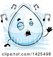 Clipart Of A Cartoon Doodled Singing Water Drop Character Royalty Free Vector Illustration by Cory Thoman
