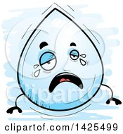 Clipart Of A Cartoon Doodled Crying Water Drop Character Royalty Free Vector Illustration