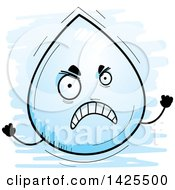 Clipart Of A Cartoon Doodled Mad Water Drop Character Royalty Free Vector Illustration