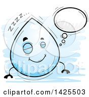 Clipart Of A Cartoon Doodled Dreaming Water Drop Character Royalty Free Vector Illustration