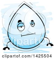 Clipart Of A Cartoon Doodled Bored Water Drop Character Royalty Free Vector Illustration