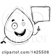 Clipart Of A Cartoon Black And White Lineart Doodled Talking Water Drop Character Royalty Free Vector Illustration