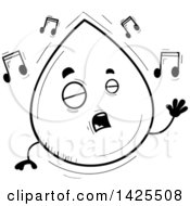 Cartoon Black And White Lineart Doodled Singing Water Drop Character