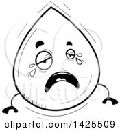 Clipart Of A Cartoon Black And White Lineart Doodled Crying Water Drop Character Royalty Free Vector Illustration