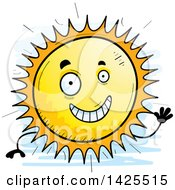Clipart Of A Cartoon Doodled Waving Sun Character Royalty Free Vector Illustration by Cory Thoman