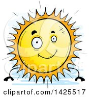 Clipart Of A Cartoon Doodled Sun Character Royalty Free Vector Illustration
