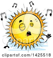 Clipart Of A Cartoon Doodled Singing Sun Character Royalty Free Vector Illustration by Cory Thoman