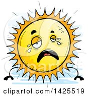 Clipart Of A Cartoon Doodled Crying Sun Character Royalty Free Vector Illustration by Cory Thoman