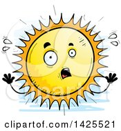 Clipart Of A Cartoon Doodled Scared Sun Character Royalty Free Vector Illustration by Cory Thoman