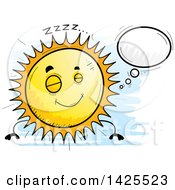 Clipart Of A Cartoon Doodled Dreaming Sun Character Royalty Free Vector Illustration by Cory Thoman