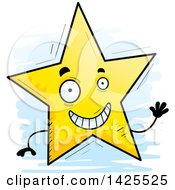 Clipart Of A Cartoon Doodled Waving Star Character Royalty Free Vector Illustration by Cory Thoman